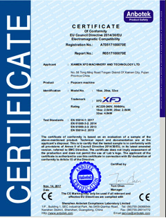 CE Certificate for Electromagnetic Popcorn Machine